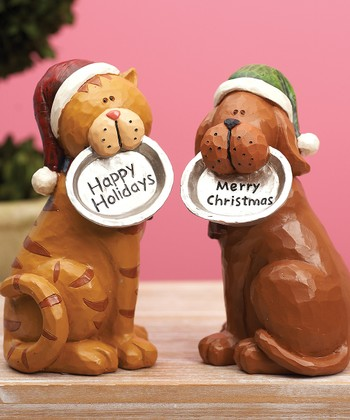 Holiday Cat & Dog Figurine Set