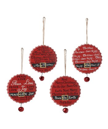 Santa Belt Bottle Cap Ornament Set