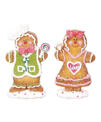 Glitter Gingerbread Figurine Set