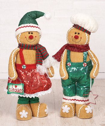 Standing Gingerbread Plush Figurine Set