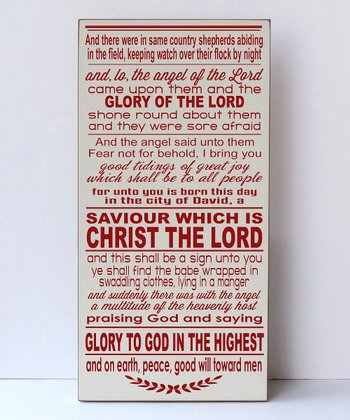 Cream & Red 'Tiding of Great Joy' Wall Art