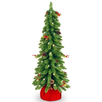 30'' Cones & Red Berries Downswept Lighted Tree