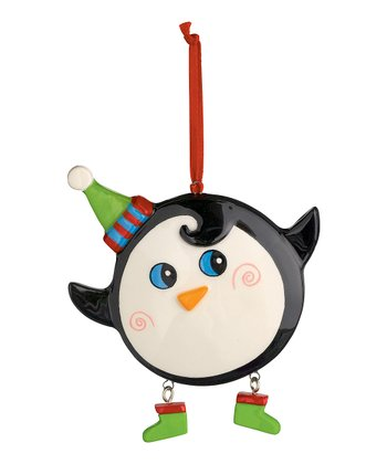 Green Hat Cheery Penguin Ornament