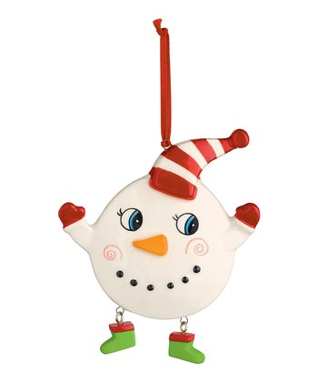 Stripe Hat Cheery Snowman Ornament