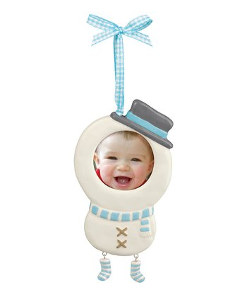 Blue Photo Snowman Ornament