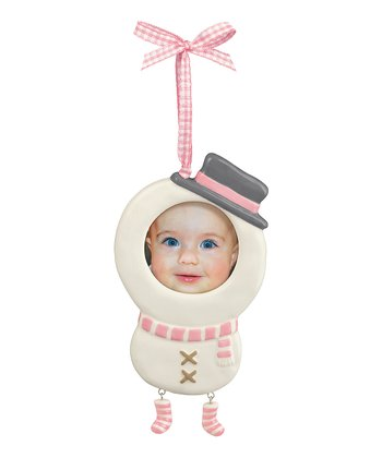 Pink Photo Snowman Ornament