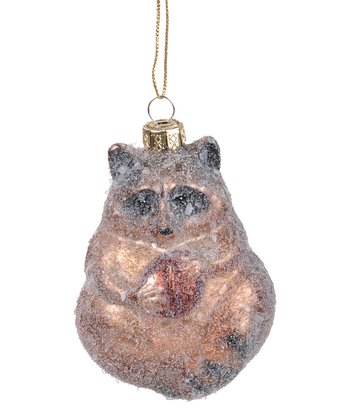 Frosted Raccoon Ornament