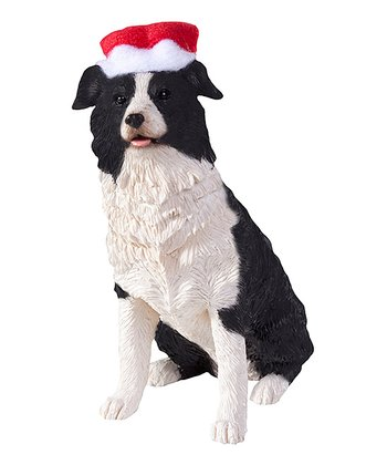 Santa Hat Border Collie Ornament