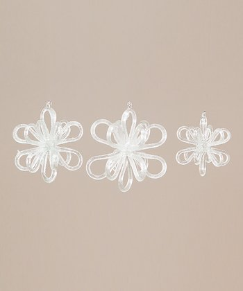 Glass Snowflake Ornament Set