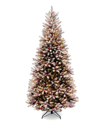7.5' Snow, Red Berries & Cones Dunhill Fir Lighted Tree
