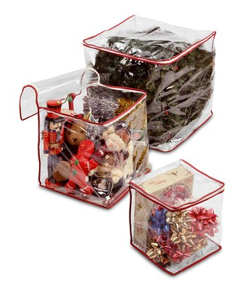 Clear Heavy-Duty Holiday Storage Bag Set