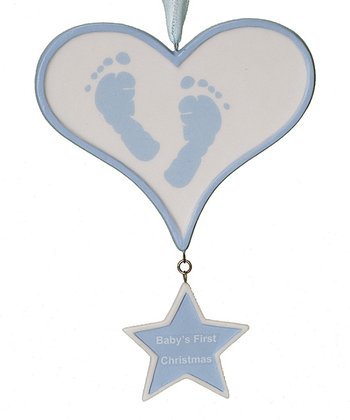 Blue Baby Feet Heart 'First Christmas' Ornament