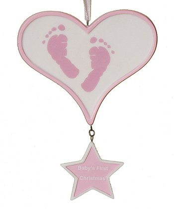Pink Baby Feet Heart 'First Christmas' Ornament
