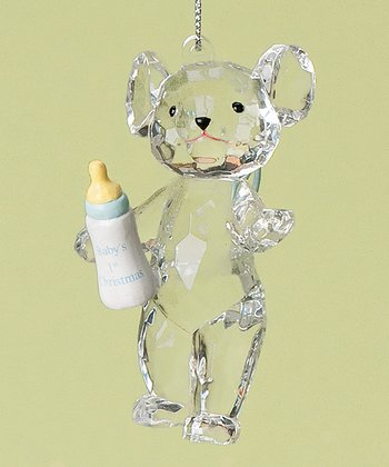 Blue Baby Bottle Bear 'First Christmas' Ornament