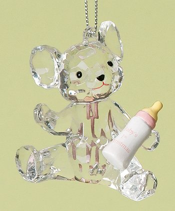Pink Baby Bottle Bear 'First Christmas' Ornament