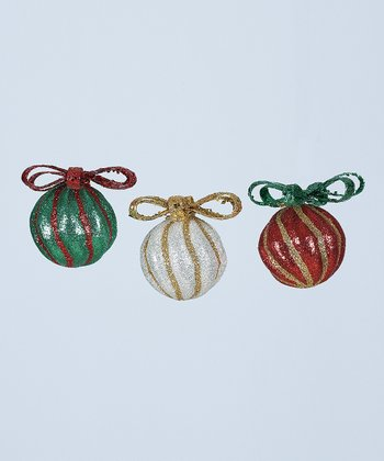 Glitter Stripe Bowtie Ball Ornament Set
