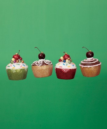 Glitter Cupcake Ornament Set