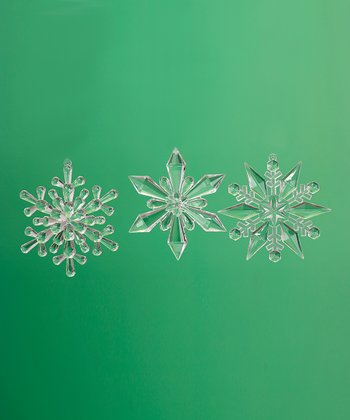 Clear Snowflake Ornament Set