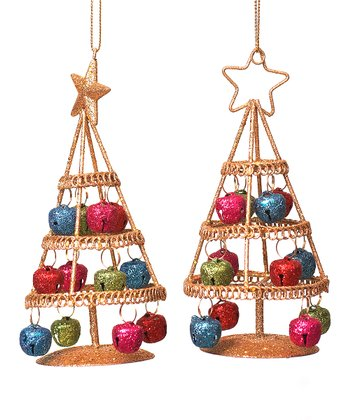 Metal Holiday Tree Ornament Set