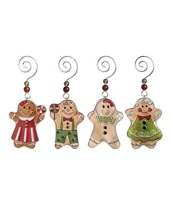 Glass Gingerbread Ornament Set
