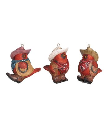 Cowboy Cardinal Ornament Set
