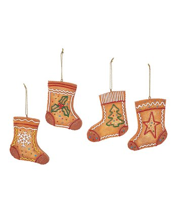 Gingerbread Stocking Ornament Set