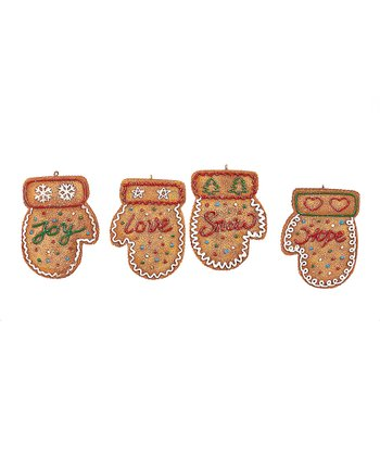 Gingerbread Mitten Ornament Set
