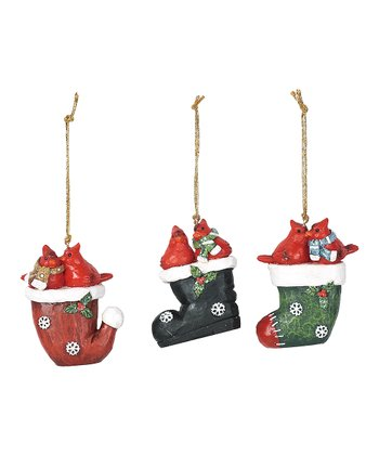 Cardinal Stocking Ornament Set