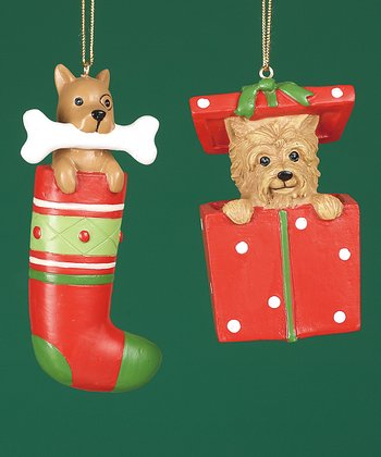Puppy Present Ornament Set