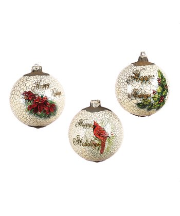 Crackle Holiday Ball Ornament Set
