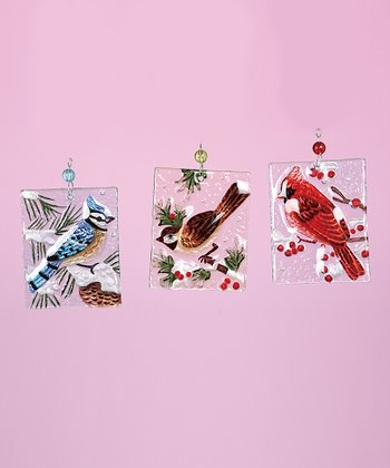 Glass Holiday Bird Ornament Set