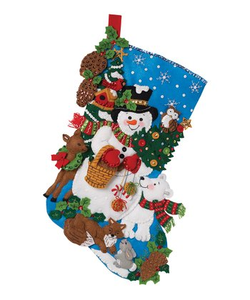 Woodland Snowman Stocking Embroidery Kit