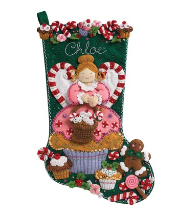 Cupcake Angel Stocking Embroidery Kit