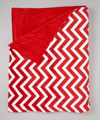 Red Zigzag Minky Throw
