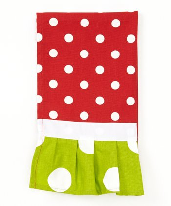 Red & White Polka Dot Ruffle Hand Towel