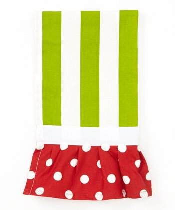 Green Stripe Ruffle Hand Towel