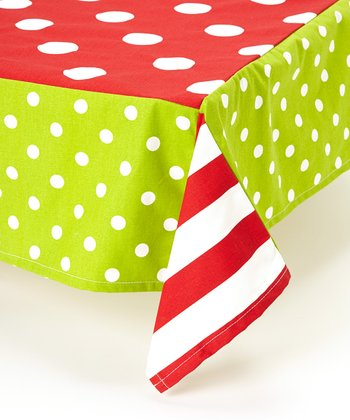 Red & Green Polka Dot Tablecloth