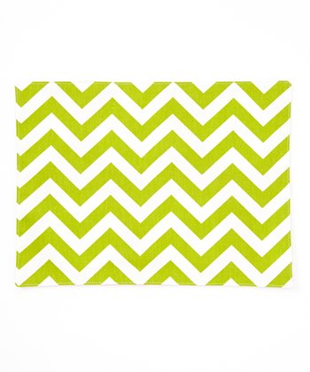 Lime Green Zigzag & Dot Reversible Place Mat - Set of Four