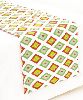 Gray & Lime Ikat & Diamond Reversible Table Runner
