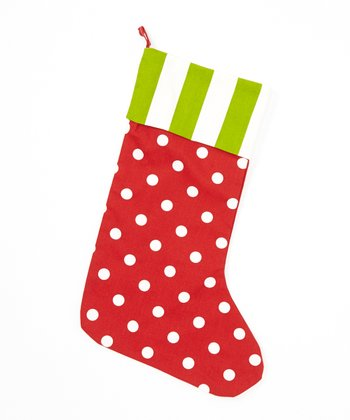 Red & Green Stripe & Polka Dot Stocking