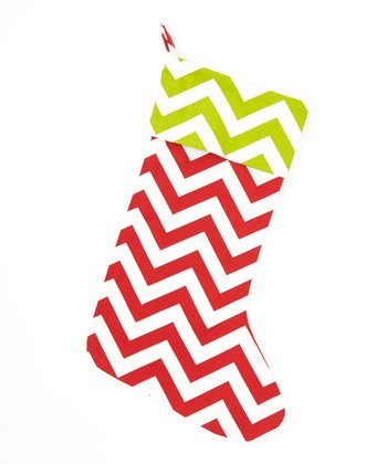 Lime Green & Red Zigzag Stocking