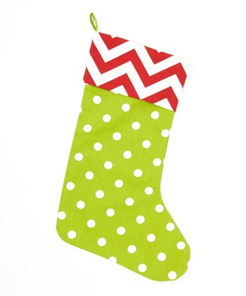 Red & Lime Polka Dot & Zigzag Stocking