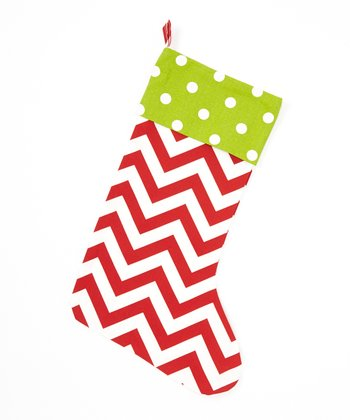 Green & White Polka Dot & Zigzag Stocking