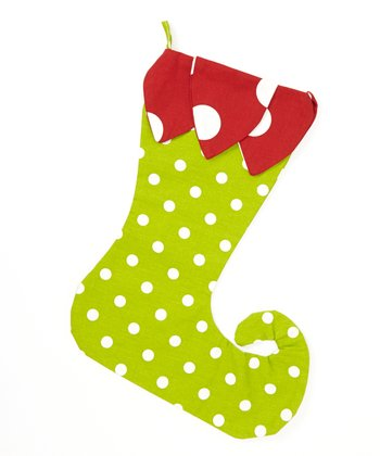 Red & Green Polka Dot Elf Stocking