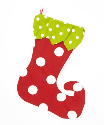 Green & Red Polka Dot Elf Stocking