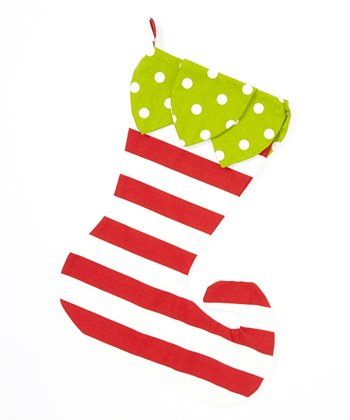 Green & Red Stripe & Polka Dot Elf Stocking