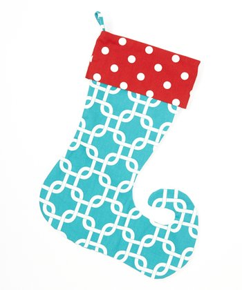 Red & Turquoise Polka Dot Elf Stocking