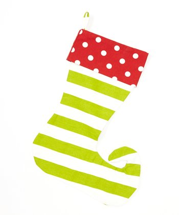 Red & Green Stripe & Polka Dot Elf Stocking