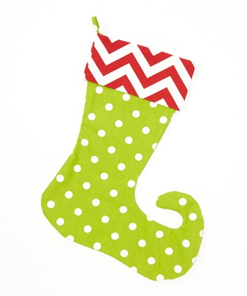 Red & Green Polka Dot & Zigzag Elf Stocking