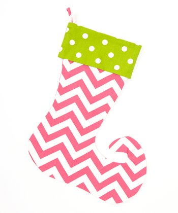 Green & Pink Zigzag & Polka Dot Elf Stocking